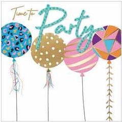 verjaardagskaart second nature - time to party - ballonnen