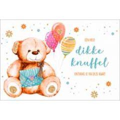wenskaart lannoo - een hele dikke knuffel ontvang je via deze kaart - teddybeer