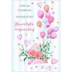 wenskaart lannoo - gefeliciteerd met jullie huwelijksverjaardag - kaart met ballonnen