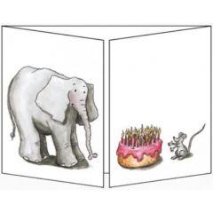 uitklapbare wenskaart cache-cache - olifant en muis bij taart