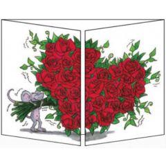 uitklapbare wenskaart cache-cache - muis met boeket rozen