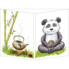 uitklapbare wenskaart cache-cache - panda met thee
