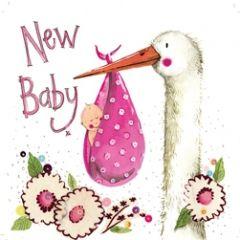 geboortekaart alex clark - new baby - ooievaar roze
