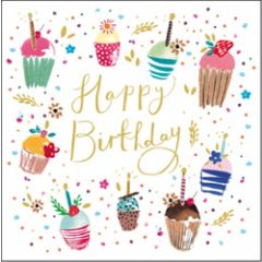verjaardagskaart woodmansterne - happy birthday - cupcakes