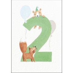 verjaardagskaart woodmansterne - 2 jaar - beer en vos