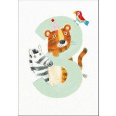 verjaardagskaart woodmansterne - 3 jaar - dieren