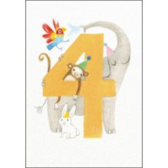 verjaardagskaart woodmansterne - 4 jaar - dieren