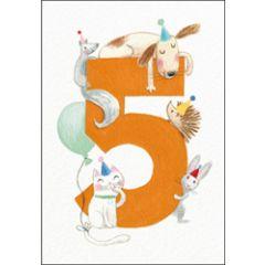 verjaardagskaart woodmansterne - 5 jaar - dieren
