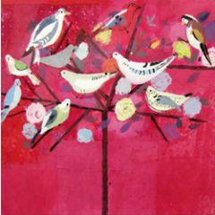 5 wenskaarten woodmansterne - vogels in boom