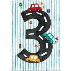 verjaardagskaart - 3 jaar - autootjes