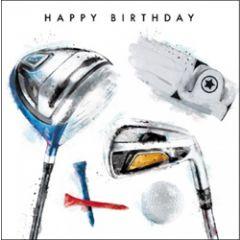 verjaardagskaart - happy birthday - golf