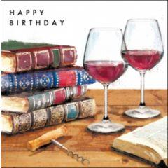 verjaardagskaart - happy birthday - boeken en wijn