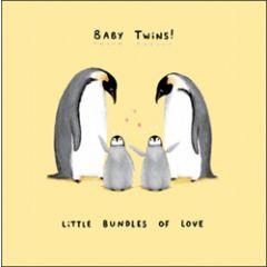 geboortekaartje - baby twins! - penguins