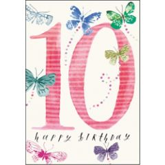 verjaardagskaart woodmansterne - 10 jaar - happy birthday - vlinders