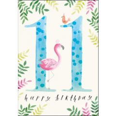 verjaardagskaart woodmansterne - 11 jaar - happy birthday - flamingo
