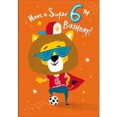6 jaar - verjaardagskaart woodmansterne - have a super 6th birthday! - leeuw