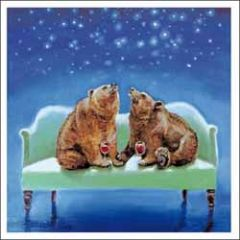 wenskaart woodmansterne - beren op bank met wijn