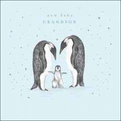 wenskaart woodmansterne - new baby grandson - pinguins