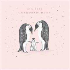 wenskaart woodmansterne - new baby granddaughter - pinguins