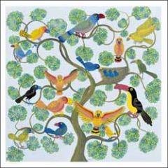 wenskaart woodmansterne - boom met vogels