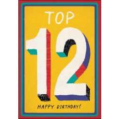 12 jaar - wenskaart woodmansterne - Top 12 Happy Birthday!