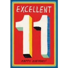 11 jaar - wenskaart woodmansterne - Excellent 11 Happy Birthday