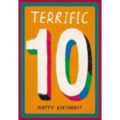 10 jaar - wenskaart woodmansterne - Terrific 10 Happy Birthday