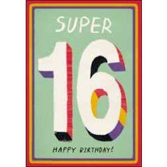 16 jaar - wenskaart woodmansterne - Super 16 Happy Birthday