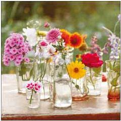 wenskaart woodmansterne - bloemen in vaasjes