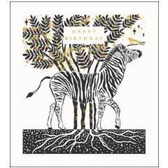 wenskaart woodmansterne - happy birthday - zebra