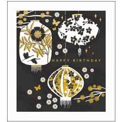 wenskaart woodmansterne - happy birthday - lampionnen