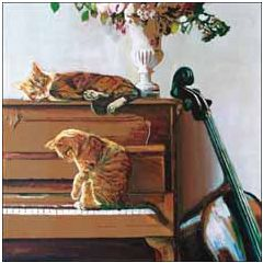 wenskaart woodmansterne - katten op piano