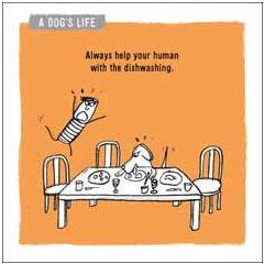 wenskaart woodmansterne - always help your human with the dishwashing