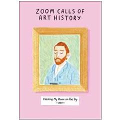 wenskaart woodmansterne - zoom calls of art history - checking my phone on the sly