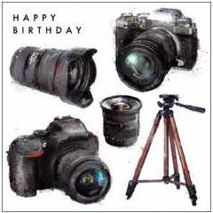 wenskaart woodmansterne - happy birthday - camera's
