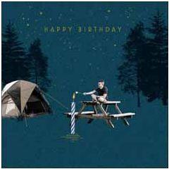 verjaardagskaart woodmansterne - happy birthday - kamperen, marshmallow roosteren