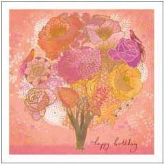 wenskaart woodmansterne - happy birthday - bloemen