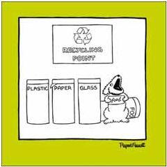 wenskaart woodmansterne - recycling point - hond met bordje food
