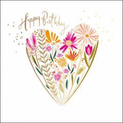 verjaardagskaart woodmansterne - happy birthday - hart van bloemen