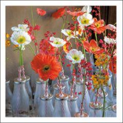 wenskaart woodmansterne - bloemen in flesjes