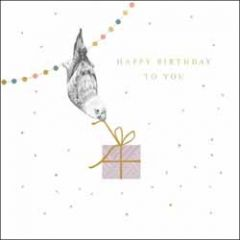 verjaardagskaart woodmansterne - happy birthday to you - vogel met cadeautje