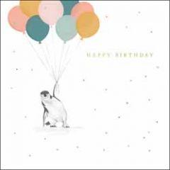verjaardagskaart woodmansterne - happy birthday - pinguin aan ballonnen