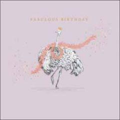 verjaardagskaart woodmansterne - fabulous birthday - struisvogel