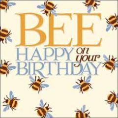 verjaardagskaart woodmansterne - bee happy on your birthday - bijen