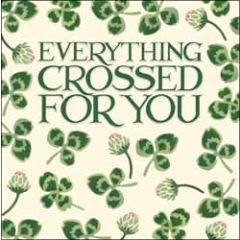 wenskaart woodmansterne - everything crossed for you - klavertje vier