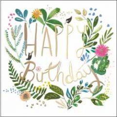luxe verjaardagskaart woodmansterne - happy birthday - bloemen