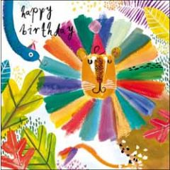 verjaardagskaart woodmansterne - happy birthday - leeuw