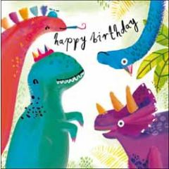 verjaardagskaart woodmansterne - happy birthday - dinosaurus