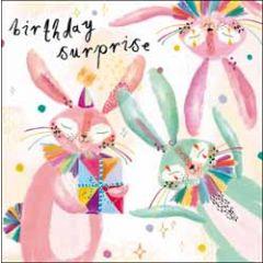 verjaardagskaart woodmansterne - birthday surprise - konijnen met cadeaus