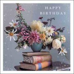 verjaardagskaart woodmansterne esprit - happy birthday - bloemen en boeken